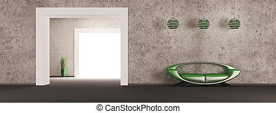 interno, divano, verde, render, 3d