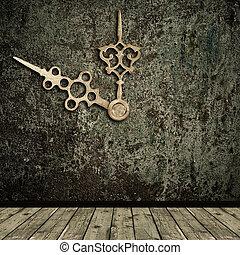 interno, dorato, mani, grunge, orologio