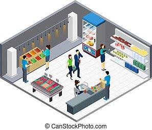 interno, drogheria, isometrico, negozio