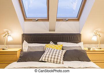interno, elegante, camera letto