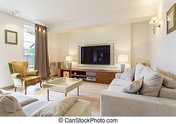 interno, elegante, stanza, media