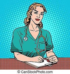 interno, escrivaninha dianteira, em, a, hospitalar