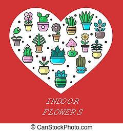 interno, fiori, e, casa, giardino, piante, cuore, manifesto, vettore