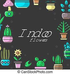 interno, fiori, e, piante casa, di, casa, decorativo, floreale, giardino, vettore, manifesto
