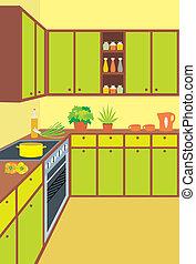 interno, furniture., cucina