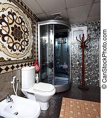 interno, gabinetto, stile, moderno, europeo