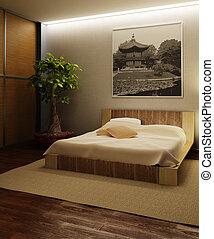 interno, giappone, stile, camera letto