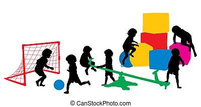 interno, gioco, bambini