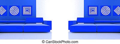 interno, in, toni blu, con, due, divano, e, ornamenti, su, parete