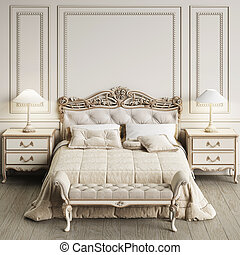 interno, interpretazione, 3d, classico, camera letto