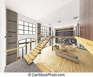 interno, interpretazione, appartamento, soffitta, 3d