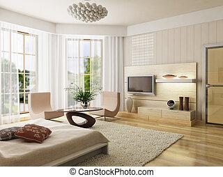 interno, interpretazione, camera letto