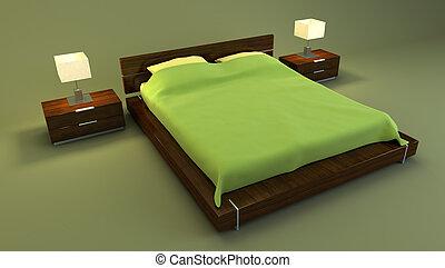 interno, interpretazione, camera letto, rosso, 3d
