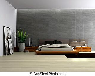 interno, interpretazione, moderno, 3d, camera letto
