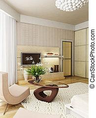 interno, interpretazione, moderno, camera letto