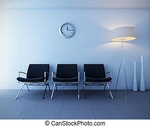 interno, intervista, atrio, scena