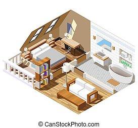 interno, isometrico, appartamento, composizione
