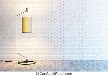 interno, lampada, stanza moderna, pavimento