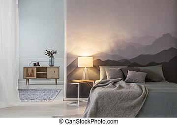 interno, luce, spazioso, camera letto
