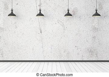 interno, luce, vuoto, parete