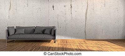 interno, luminoso, moderno, render, 3d