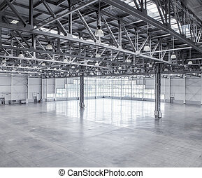 interno, magazzino, vuoto