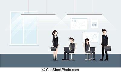 interno, manifesto, lavorante, moderno, ufficio