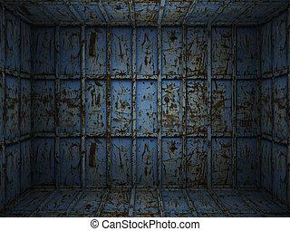 interno, metallo, arrugginito, stanza