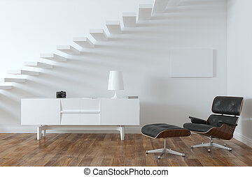 interno, minimalista, stanza, w