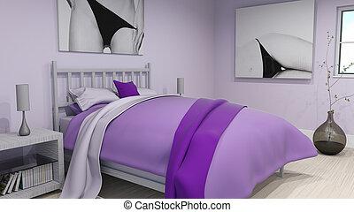 interno, moderno, 3d, camera letto