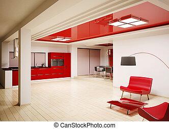 interno, moderno, 3d, render, cucina