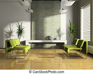interno, moderno, attesa-stanza, 3d
