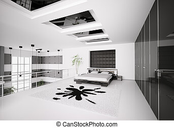 interno, moderno, camera letto, 3d