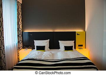 interno, moderno, camera letto