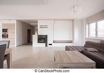 interno, moderno, caminetto