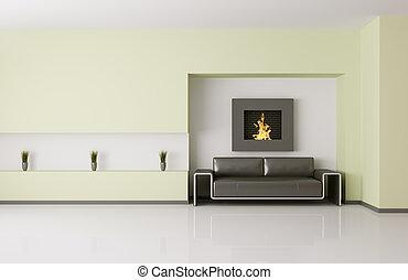 interno, moderno, caminetto, render, 3d