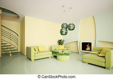 interno, moderno, caminetto, scala, 3d