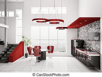 interno, moderno, cucina, 3d