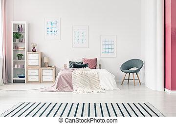 interno, moderno, disegno, camera letto