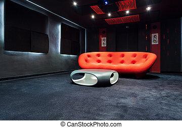 interno, moderno, disegno, mobilia