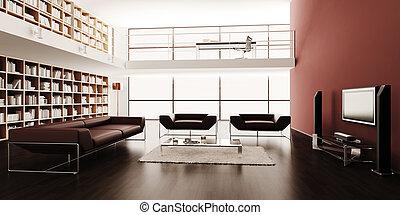 interno, moderno, disegno, render, 3d