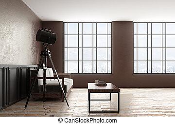 interno, moderno, lato, copyspace