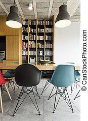 interno, moderno, libreria
