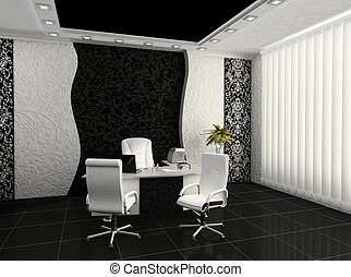 interno, moderno, posto lavoro, ufficio