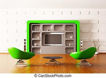 interno, moderno, render, 3d