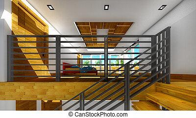 interno, moderno, -, scala