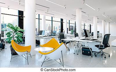 interno, moderno, ufficio, render, 3d