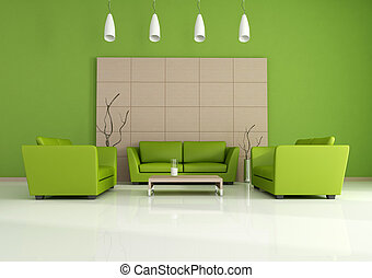 interno, moderno, verde