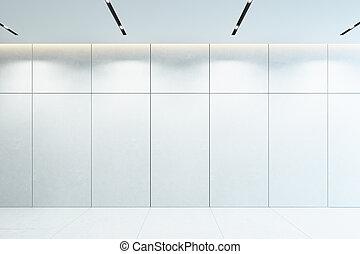 interno, moderno, vuoto, 3d, bianco, interpretazione, stanza