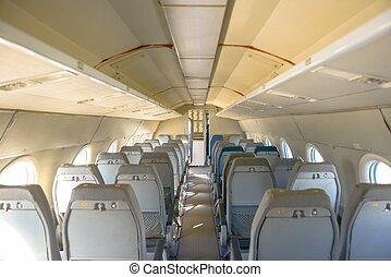 interno, molti, aeroplano, posti